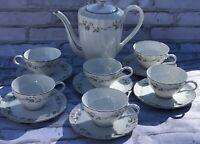 14 Pc Tea Set For 6 Coventry Fine China Japan #656 Felicia Pattern Platinum Trim