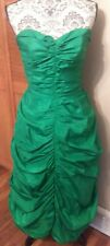 Vtg 80s 90s Unbranded Strapless Green Prom Dress Scrunched Ruched Women Size S/M