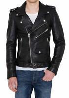 Men's Motorcycle Genuine Lambskin Leather Jacket Black Slim fit Biker jacket men