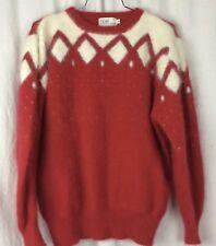 Fiori Angora Sweater Red White Fuzzy Soft Ugly Christmas Size M Vintage