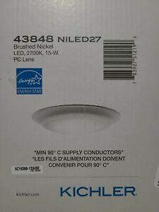 "Kichler Flush Mt LED 2700K 7.5x1.25"", Brsh Nickel, Pc Lens - 43848NILED27"