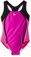 Speedo Girls Mesh Splice Thick Strap One Piece Swimsuit sZ 14 youth