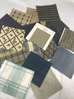 """BEACON HILL PLUSH UPHOLSTERY 7"""" X 7"""" Random Swatch Lot Of 18 Mainly Blue & Tans"""