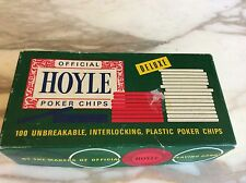 Vintage Hoyle 100 piece plastic poker chips Red White Blue