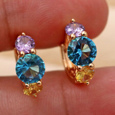 18K Gold Filled - Round Citrine Blue Topaz Sapphire Party Amethyst Earrings DS