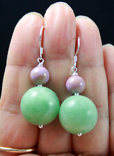 V.PRETTY MULTITONAL GREEN JADE & PURPLE PHOSPHOSIDERITE STERLING SILVER EARRINGS