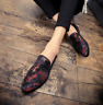 Mens Mixed Color Floral Suede Leather Formal Shoes Slip On Loafers Pointed Toe