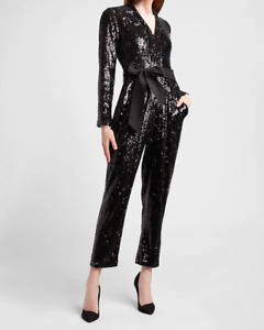 nwt EXPRESS all sequin bling padded shoulder taper jumpsuit s m l