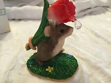 """Charming Tails """"I Picked This For You"""" Signed 1999 Mouse Flower Spring Fitz Floy"""