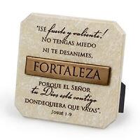Fortaleza (Strength) Sandstone Cast Stone Bronze Title Bar Plaque 3.75x3.75in