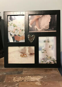 4x6 Inch Black Wooden Photo Frame With A Heart Holds 4 Pictures