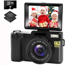 Digital Camera Vlogging Camera with YouTube 30MP Full HD 2.7K Vlog Camera with 2