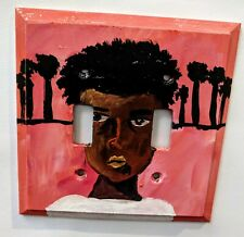 Light Switch Wall Plate Cover with African Boy Handpainted by Tosh Fomby