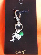 Cat Collar charm with Silver Fish , Double sided heart  and Green  metalic bell