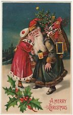 SUPER Postcard Blue Robe Santa Claus Christmas Toys Doll Embossed Germany 1908