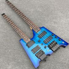 Double necks Headless Electric guitar Royalblue Flamed Maple top Guitar & Bass