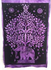 Indio Tapiz Colgante de Pared Mandala Póster Tamaño Árbol Elefante LILA TAPICES