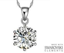 Made with Swarovski Elements Clear Solitaire Crystal Pendant and Necklace - £35
