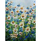 Wildflowers Daisy Forget Me Not Flowers Meadow Original Oil Painting Impasto Art