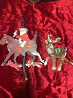 2 Midwest Of Cannon Falls Wood Christmas Ornaments Santa/Reindeer Moving Parts