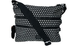 Kipling Monkey Alvar Crossbody Messenger Shoulder Bag Black/White NWOT