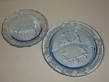 Tiara Blue Glass Child Bowl and Divided Plate, Mother Goose Nursey Rymes