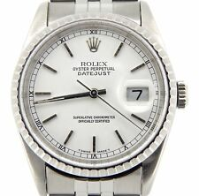 Rolex Datejust Mens Stainless Steel Watch Quickset Jubilee Band White Dial 16220