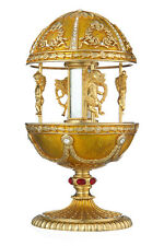 Decorative Faberge Egg / Music Box Carousel with Angels 7.1'' (18cm) yellow