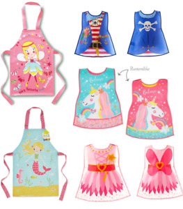 Children Novelty Wipe Clean Personalization Apron Tabards Girls Boys Reversible