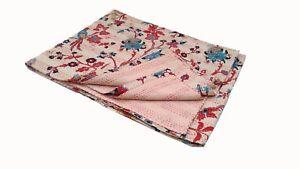 Vintage Throw Kantha Quilt Indian Handmade Cotton Bedspread Reversible Bedding @