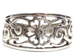 Vintage Ladies Sterling Silver Floral Design Ring - Size 6.5