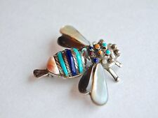 Vintage Native American Navajo sterling silver inlay bumble bee pendant - brooch