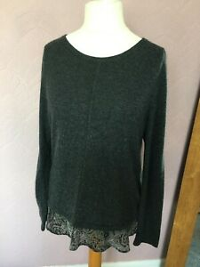 White Stuff Lovely Alpaca Mixed Lace Trim Jumper Tunic Top  Size 14