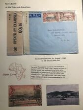 1943 Freetown Sierra Leone Airmail Censored  Cover To Rev Shelley Lancaster USA