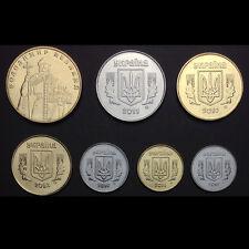 [W-1] Ukraine Set 7 Coins, 1+2+5+10+25+50 Kopijok+1 Grivnia, 2010-2013, UNC