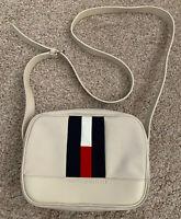 Vintage 90s TOMMY HILFIGER Medium Zip Up Nylon Beige Purse Side Bag