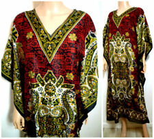Size 22/24 Tunic  Kaftan Long Silky Orange   Black Red India holiday