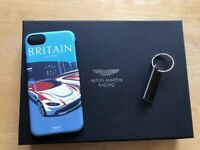 NEW ASTON MARTIN RACING BOXED BRITAIN  i-PHONE 7 or 8 CASE & CARBON KEYRING