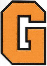 """6 """" Pouce Grand Orange Noir Bloc Letterman's Lettre G Feutre Patch"""