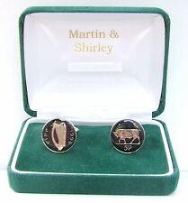 1996 Ireland cufflinks Old Irish 5p coins in Black & Silver
