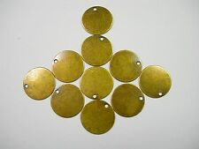Antiqued Brass Disc Drops Earring Findings - 10 S - 12mm