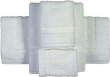 24 NEW WHITE POLY COTTON BLEND SALON HAND TOWELS 16X27