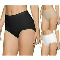 PACK OF 3 LADIES WOMENS COTTON PLAIN MAXI FULL BRIEFS KNICKERS PANTS SIZE 10-24