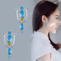 925 Silver Earrings Women Turquoise Gemstone Dangle Drop Hook Boho Jewelry Gift