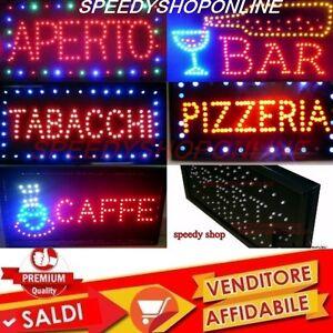 INSEGNA LUMINOSA A LED APERTO TABACCHI PIZZA, BAR CAFFE' PANINI PER ATTIVITA'