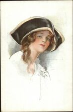 Beautiful Young Woman in Large Hat - Court Barber c1910 Postcard