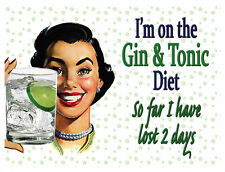 LARGE METAL WALL SIGN GIN AND TONIC DIET FUNNY GIFT PRESENT MUM NANNY
