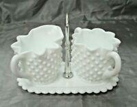 Fenton White Milk Glass Hobnail 3pc Set Star Creamer Open Sugar Bowl w/Tray EUC
