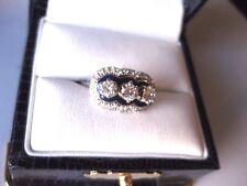 "VINTAGE ESTATE 18K WHITE GOLD RING: FINE DIAMONDS & ""COBALT"" ENAMEL,circa 1950's"