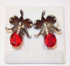Vtg Art Deco Orchid Flower Earrings 925 Sterling Silver Red Rhinestone 1930's